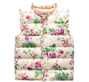 Çocuk Yastıklı Yelek Sıcak Satış Çocuklar Sonbahar Bahar Kış Bebek Kız Yelekler jile Çiçek Baskılı Kapşonlu Kabanlar olmadan weskit