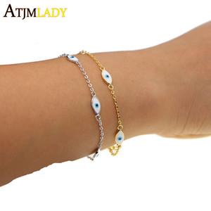 2017 promoción de la venta caliente de las mujeres de esmalte de cobre mal de ojo cadena de enlace de color moda envío de la gota de joyería de alta calidad pulsera