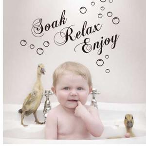 56*29СМ ванная комната стена Art замочить расслабиться наслаждаться Rremovable стикер стены черная плитка для ванной пузырь стикер