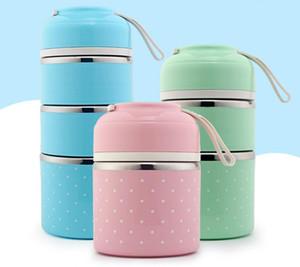 Venta caliente de alta calidad linda coreana caja de almuerzo térmica a prueba de fugas caja de Bento de acero inoxidable para niños portátil de picnic comida escolar contenedor