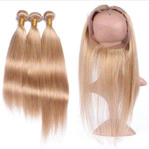 Nouvelle arrivée Honey Blonde 360 de dentelle fronteaux avec Bundles Strawberry Blonde Cheveux Tissages avec cheveux brésiliens 360 Lace Frontal