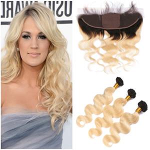 1B / 613 Blonde Ombre Bundle de cheveux traite avec base en soie Frontale 13x4 Ombre Blonde cheveux vierges 3Bundles avec soie Top Front