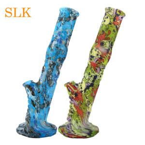 Силиконовые прямые трубки 14,17 дюйма высотой Съемные силиконовые бонги Курение Перколятор Стеклянный бонг Бамбук Форма Dab Rig FDA Approve