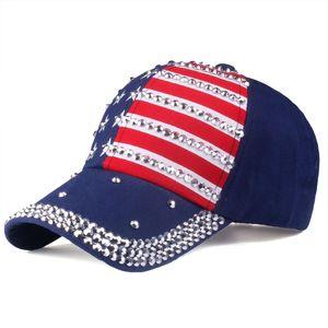 Новые большие дети бейсболки Лето американский флаг шляпа подросток горный хрусталь Ковбой Cap пятиконечная звезда полосы ВС шляпы