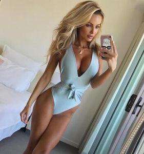 2pcs / set 2018 Sexy Halter Décolleté en V avant Bow noueuse Bandage trikini Combinaison de natation Maillot de Bain Monokini Maillot une pièce