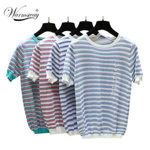 새로운 패션 Lurex Tee femme Leer 자수 얇은 짧은 소매 Sweet Ladies T Shirt는 여름 여자 Stiped 탑 B-142를 Knip했다.