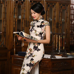 S-3XL chinesische Frauen Satin Cheongsam Silk lange Qipao China Oriental Kleid Traditionelle chinesische Cheongsams National Wind Qipao
