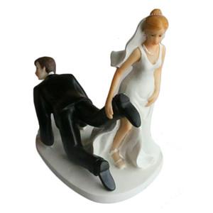 Novia y novio Toppers Pareja estatuilla boda divertido Cake Topper para decoración de la fiesta de la torta de boda