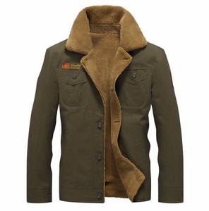Sonbahar Kış Bombacı Ceket Erkekler Pilot Erkek Ceket Sıcak Erkek Kürk Yaka Ordu Ceket Taktik Erkekler Coat Boyut M-5XL