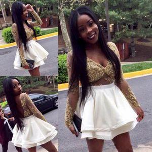 Sexy V Pescoço Vestidos de Cocktail 2018 Africano Sheer Mangas Compridas Apliques De Ouro Vestidos de Baile 8ª Série Vestidos de Formatura Vestidos Homecoming