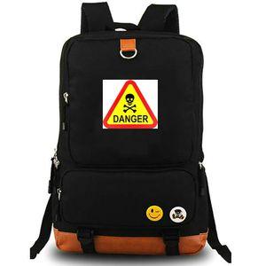 Risk sırt çantası Uyarı işareti daypack Tehlike logosu schoolbag Rahat tarzı sırt çantası Spor okul çantası Dış mekan paketi