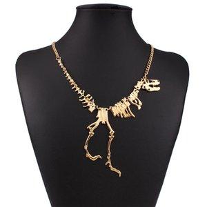 Großhandel neue punk stil gothic tyrannosaurus skeleton dinosaurier halskette knochen funky kette anhänger silber farbe