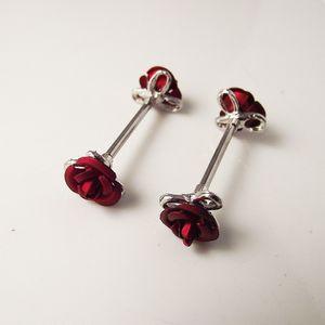 2 Stück Kristall Nippel Ring Rose Blume Nippel Schild Ringe Piercing Schmuck Doppel Rote Blume Frauen Geschenk