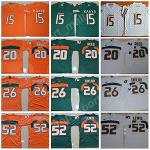 Hommes College Football Miami Hurricanes Maillots Broderie 15 Brad Kaaya 20 Ed Reed 52 Ray Lewis 26 Sean Taylor Vert Orange Blanc Top Qualité