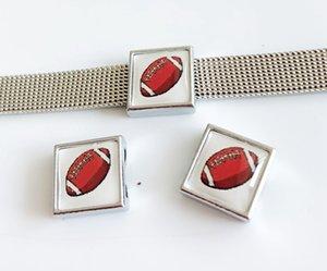 10 pcs 8 MM De Plástico De Futebol De Futebol Impressão de Encantos de slides Contas DIY Acessórios Fit 8mm Cintos de Colarinho Pulseiras