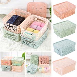Linda moda caja de almacenamiento de plástico titular de lápiz labial soporte de exhibición cosmético calado maquillaje casete de almacenamiento en casa caso de maquillaje @ T10