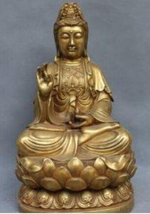 Çin Budizm NanHai Kwan-yin Bodhisattva Bakır Bronz Guanyin Heykeli