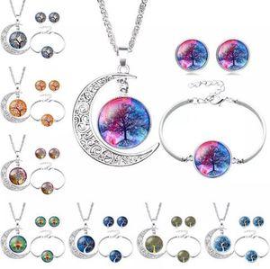 Tree of Life Necklace Bracelet Stud Pendientes Conjuntos de joyería Collar de cristal Cabochon Cadenas Joyería de moda para mujeres niños MOQ 30 pcs