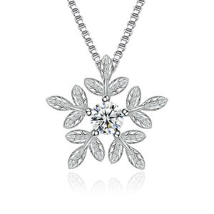 Luxury CZ Diamond Crystal Snowflake Pendants Necklaces Gift for Women Fashion Jewelry Accessories White Gold Plated