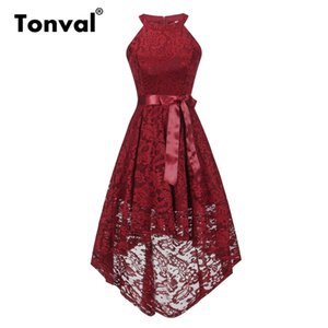 Tonval Vintage Floral Lace Off Shoulder Dress Mujeres High Low Hem Midi Party Robe Dress Mujer Borgoña Vestidos rojos