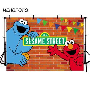 Toptan Susam Sokak Tuğla Duvar Arka Planında Elmo Dünya Doğum Günü Partisi Özel Fotoğraf Arka Plan için Fotoğraf Stüdyosu Arka Plan