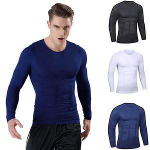 Erkek Vücut Şekillendirici Spor Tops Uzun Kollu Elastik Güzellik Slim Karın Sıkı Uydurma Korse Gömlek Şekillendirici Zayıflama Iç Çamaşırı