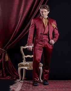 Fashion Embroidery Three Piece Groom Tuxedos Red Men Wedding Suit Bridgroom Men Dinner Prom Wear Customize(Jacket+Pants+Tie+Vest) 401