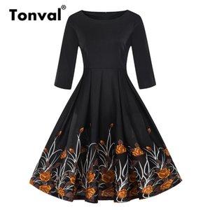 Tonval Vintage Une Ligne Florale Robe Décontractée Automne 2018 Femmes Noir 2/3 Manche Robe D'hiver Rétro Swing Robes