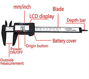 New Arrival 150mm 6 inch LCD Digital Electronic Carbon Fiber Vernier Caliper Gauge Micrometer Measuring Tool Free Shipping