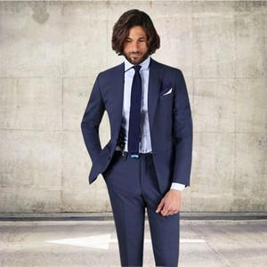 2018 두 조각 네이비 Bule 남자 정장 웨딩 패션 사용자 지정 클래식 Groomsmen 턱시도 정식 Office 양복 (자 켓 + 바지)