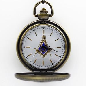 Новое прибытие 5.5 см масонский масонство тема Coloful циферблат кварцевые карманные часы кулон ожерелье Fob часы мужские женские подарок