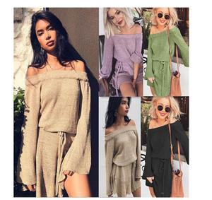 2018 nuove donne Sexy Fashion maglione senza spalline Abito da donna con spalle scoperte maglione Gonne da donna senza schienale