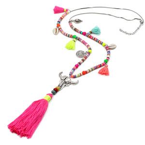 Vonnor مجوهرات النساء بيان قلادة البوهيمي الخرز الملونة شل شرابة قلادة الإناث الفتيات قلادة طويلة لفستان