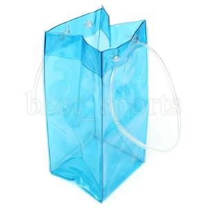 Sacchetto di ghiaccio del vino del PVC trasparente durevole Sacchetto di raffreddamento del sacchetto di 11 * 11 * 25cm con maniglia Borsa di raffreddamento portatile di stoccaggio chiaro OOA5117