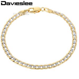 Davieslee585 Silver Gold Filled Womens Pulseira Cadeia Pulseira Cuban Link 4mm 18 cm 20 cm 23 cm 25 cm GB94