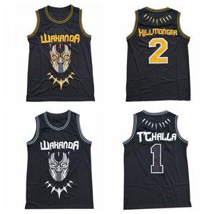 Mens Black Panther Wakanda Film Jersey # 1 # 2 T'Challa Killmonger Basketball Maillots pas cher Chemises Stitched S-XXL