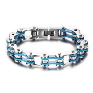 Drop shipping marka yeni en kaliteli erkek paslanmaz çelik bisiklet zincir bilezik bisiklet zinciri kristal bilezikler rhinestone jewelries 197