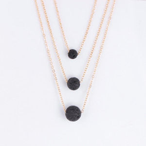 Lava Stone Necklaces Women Luxury Jewelry Vintage Multilayer Chain Necklace Essential Oil Diffuser Rock Bead Pendant Chokers Necklaces