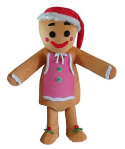 2018 de haute qualité chaude Gingerbread Men Mascot Costume-Noël Complet Adulte Outfit -Livraison Gratuite