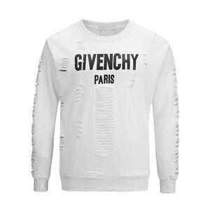 HUY2019 최신 디자인 유행 유럽과 미국 남자의 고품질 구멍면 T 셔츠 캐주얼 스웨터 여성 T 셔츠 giv t- 셔츠