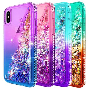 Para brillo Iphone 11 Caja de lujo del líquido de la arena movediza de la chispa brillante del diamante de Bling para Iphone lindo XR XS Max
