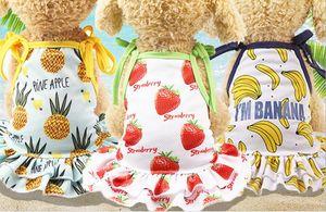 Ropa para perros Ropa Suministros para mascotas Piña Fresa Plátano Estampado VIP Teddy Puppy Cat Dress Falda Camiseta A836
