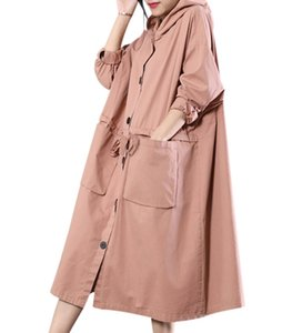 YESNO WR2 Femmes Longue Décontractée Loose Hooded Trench Coat Plus La Taille Cordon Taille Gros Poches