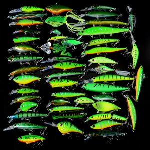 50Pcs Set Mixed Fishing Hard Baits Artificial Minnow VIB Pencil Crankbaits Topwater Fishing Frog Soft Lures