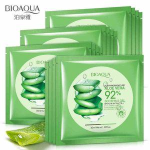 BIOAQUA Natural Aloe Vera Gel Masque Visage Hydratant Huile Contrôle Rétrécir Les Pores Masque Visage Masque Enveloppé cosmétique Soins de la peau