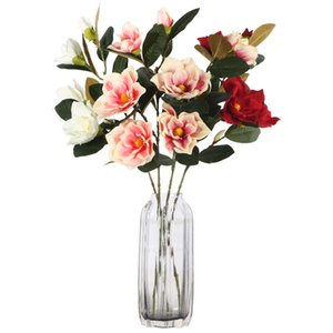 Décoratif 4Heads Orchidée Magnolia artificielle Fleur Branche Décoration Maison mariage Fleurs Faux jardin Décor Flores