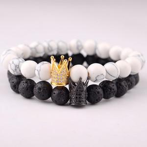 Braccialetto di pietra vulcanica Corona naturale Seven Chakra Energy Beads Bracciali Strass metallo colorato Accessori per gioielli all'ingrosso