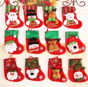 Mini Cristmas Stocking Tree Decoration Hangings Ornament Decor Pendants Christmas Tree Baubles Santa Cristmas Calza di Natale
