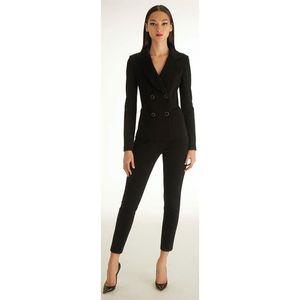 Donne smoking nero 2 pezzo signore vestito stabilito le donne d'affari femmina ufficio uniformi pantaloni pantaloni raddoppiano i vestiti breasted SU MISURA