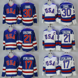 30 hommes Jim Craig 21 Mike Eruzione 17 Jack O'Callahan 1980 USA Hockey Jersey Team USA Miracle sur Autre Année Vintage Maillots